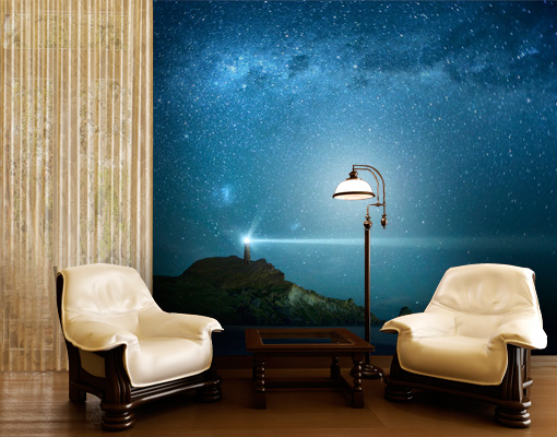 Fleece Wall Mural Lighthouse Wallpaper Wall Art Wall Decor Starry Sky Night Sea Ebay