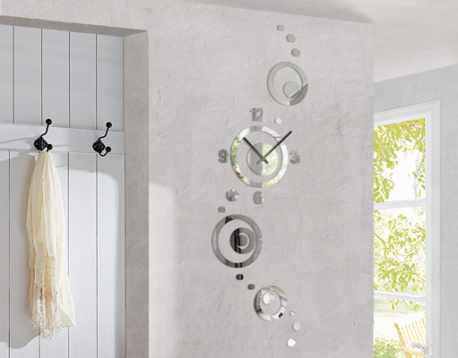 design wanduhr kreise spiegel wandtattoo uhrwerk zeit junghans zeiger formen. Black Bedroom Furniture Sets. Home Design Ideas