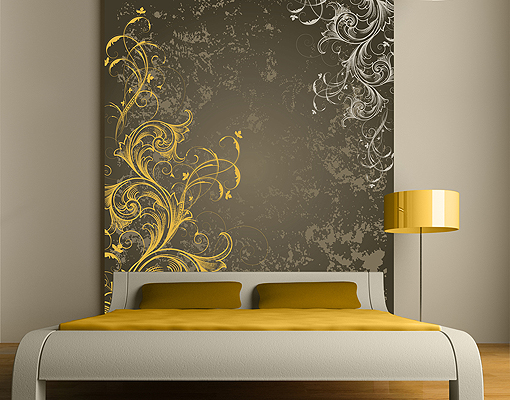 Wall Art Decor Gold : Fleece wall mural curlicues in gold and silver wallpaper