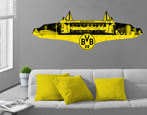 wandtattoo borussia dortmund grunge skyline sticker aufkleber bvb fu ball fan ebay. Black Bedroom Furniture Sets. Home Design Ideas