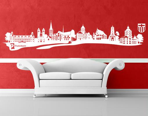wandtattoo no ac13 paderborn skyline deutschland stadt. Black Bedroom Furniture Sets. Home Design Ideas