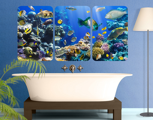 Wall mural underwater reef triptych i fishes corals ocean for Mirror 72x36