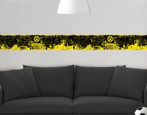 Wall decal bordure borussia dortmund grunge skyline for Bordure wandtattoo