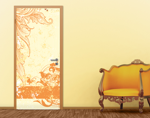 Fototapete-Tuer-GRUNGE-ORANGE-SCROLL-100x210-Foto-Tapeten-Ornamente-Blumen-Deko