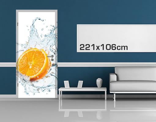fototapete t r selbstklebend frische orange tapete k che obst frisch spritzig ebay. Black Bedroom Furniture Sets. Home Design Ideas