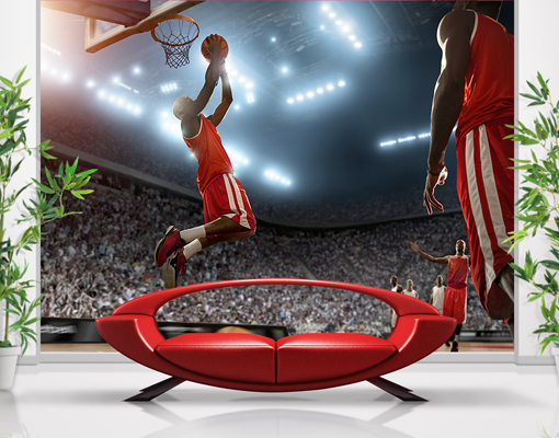 Photo wall mural dunking wallpaper wall art wall decor for Basketball mural wallpaper
