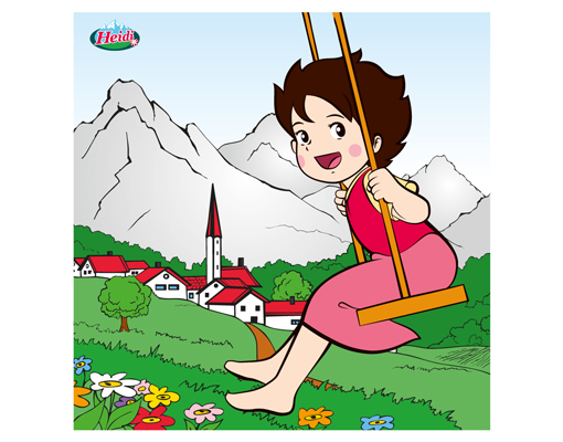 Fensterbild heidi schaukeln kinderzimmer wiese berge for Kinderzimmer berge