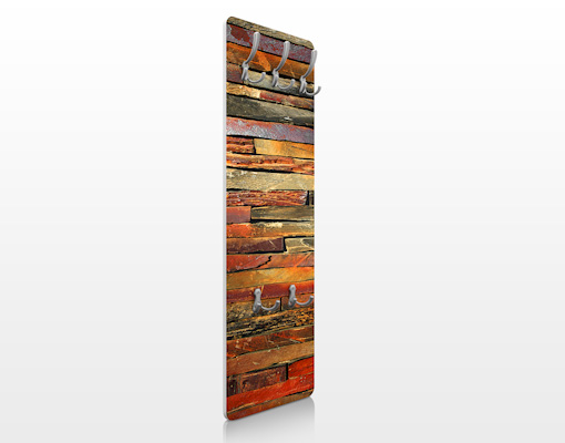 design garderobe mdf holz bretterstapel wand haken flur diele natur kamin ebay. Black Bedroom Furniture Sets. Home Design Ideas