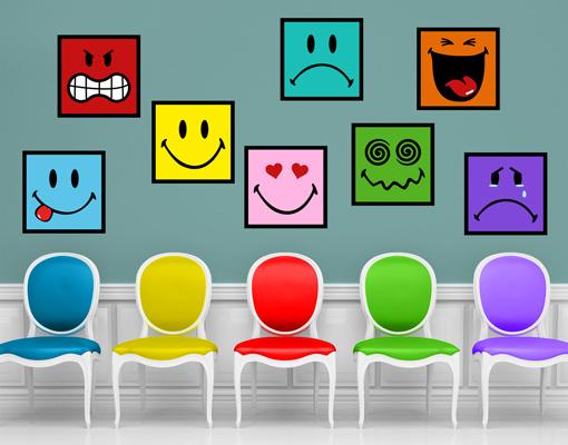 wandtattoo smiley sticker set wand aufkleber gesicht lachen grinsen weinen bunt ebay. Black Bedroom Furniture Sets. Home Design Ideas