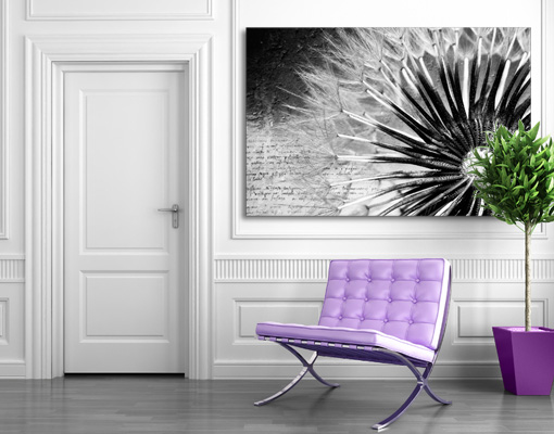 leinwand bild bilder pusteblume schwarz weiss blueten blumen natur vintage ebay. Black Bedroom Furniture Sets. Home Design Ideas