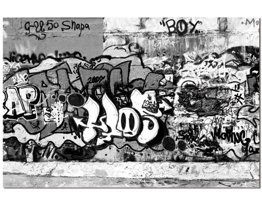 alu dibond butlerfinish bild graffiti art sprayen schwarz weiss kunst jugend wand bilder. Black Bedroom Furniture Sets. Home Design Ideas