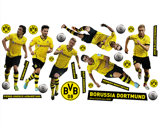 wandtattoo borussia dortmund ohne euch kein wir sticker set wand aufkleber bvb ebay. Black Bedroom Furniture Sets. Home Design Ideas