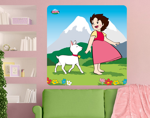Wandbild heidi mit gl ckchen wanddesign poster for Kinderzimmer berge