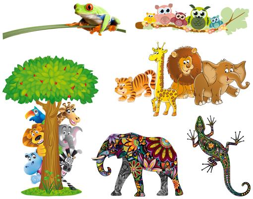 wandtattoo top 6 motive kinderzimmer eule safari frosch dschungel elefant gecko ebay. Black Bedroom Furniture Sets. Home Design Ideas