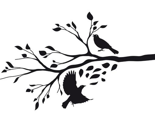 glasdekor tattoo no rs65 herbstast baum ste bl tter v gel wind ebay. Black Bedroom Furniture Sets. Home Design Ideas
