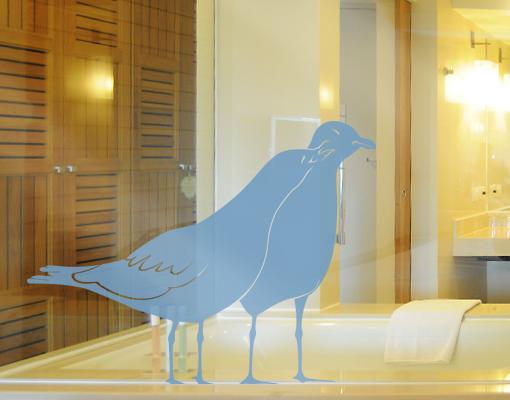 glasdekor tattoo no is25 k ssende m wen v gel meer m ve seevogel strand ebay. Black Bedroom Furniture Sets. Home Design Ideas