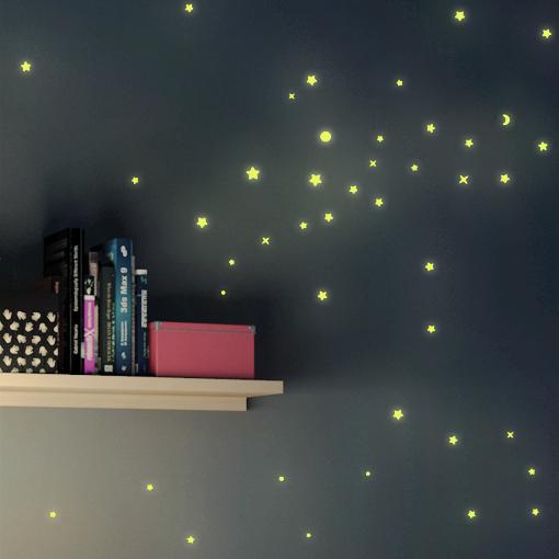 wandtattoo sternenhimmel 250er set leuchtsticker fluoreszierend sterne leuchtend ebay. Black Bedroom Furniture Sets. Home Design Ideas