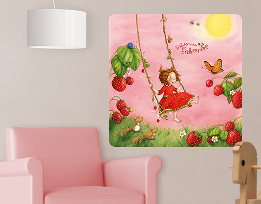 wandbild erdbeerinchen erdbeerfee baumschaukel wandtattoo design kinder zimmer. Black Bedroom Furniture Sets. Home Design Ideas