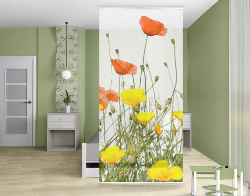 design raumteiler wild flowers schiebe vorhang gardine fl chenvorhang trennwand ebay. Black Bedroom Furniture Sets. Home Design Ideas