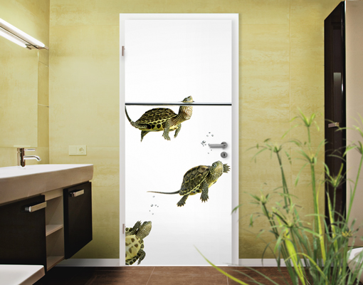 fototapete t r diving turtles 100x210 foto tapeten. Black Bedroom Furniture Sets. Home Design Ideas