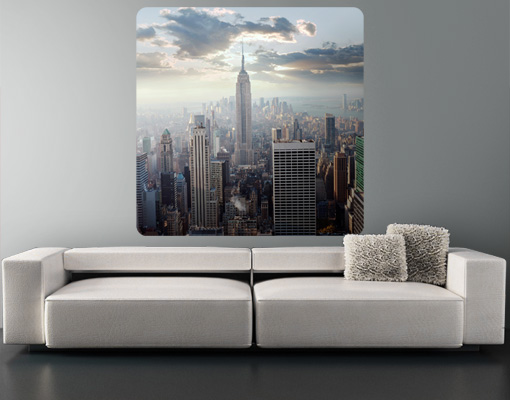 wandbild sonnenaufgang in new york amerika usa manhattan skyline wolkenkratzer ebay. Black Bedroom Furniture Sets. Home Design Ideas