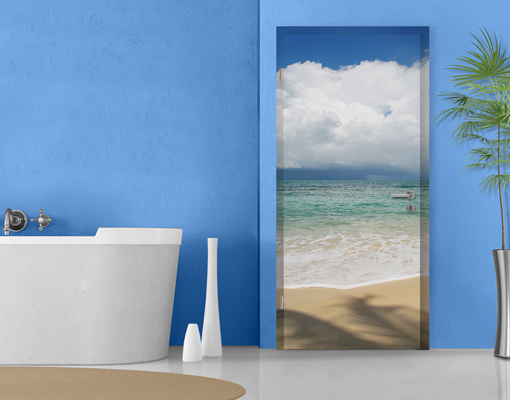 fototapete t r selbstklebend antigua bay foto tapeten meer strand wasser wolken ebay. Black Bedroom Furniture Sets. Home Design Ideas