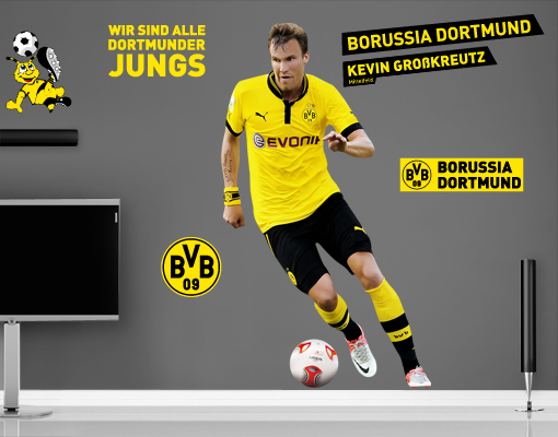 wandtattoo borussia dortmund kevin gro kreutz set wand aufkleber bvb fu ball ebay. Black Bedroom Furniture Sets. Home Design Ideas