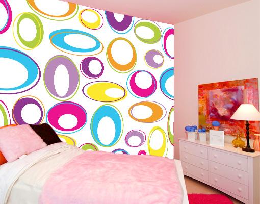 fototapete happy eggs tapete bunt kreise eier retro punkte. Black Bedroom Furniture Sets. Home Design Ideas