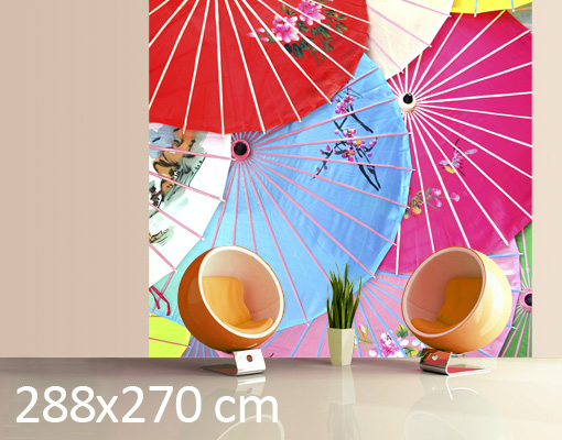 Photo wall mural chinese parasols wallpaper wall art wall decor umbrella chin - Parasol mural castorama ...
