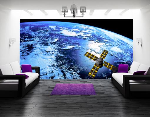 fototapete space runner tapete all satellit erde planet. Black Bedroom Furniture Sets. Home Design Ideas