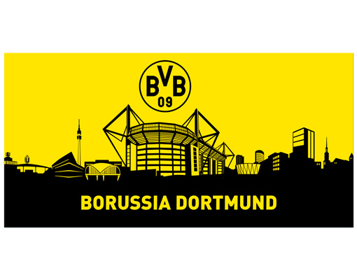 leinwand bild bilder borussia dortmund skyline dortmund fu ball bvb fan artikel ebay. Black Bedroom Furniture Sets. Home Design Ideas