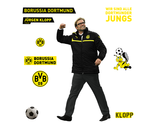wandtattoo borussia dortmund j rgen klopp set wand aufkleber bvb fu ball fan. Black Bedroom Furniture Sets. Home Design Ideas