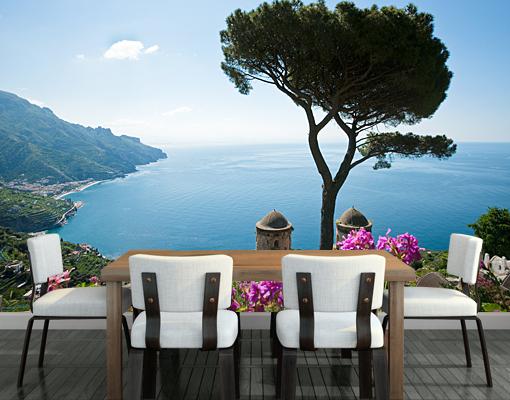 fototapete ausblick vom garten aufs meer ozean mediterran. Black Bedroom Furniture Sets. Home Design Ideas