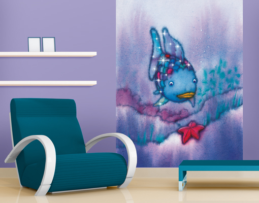 vlies fototapete der regenbogenfisch der seestern kinderzimmer meerestier wasser ebay. Black Bedroom Furniture Sets. Home Design Ideas