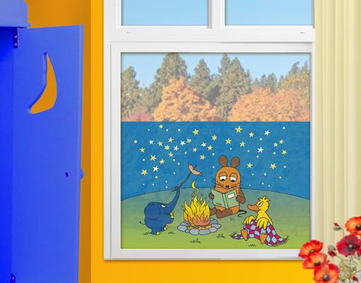 Fensterbild die maus lagerfeuer fenster tattoos for Fensterdekoration kinderzimmer