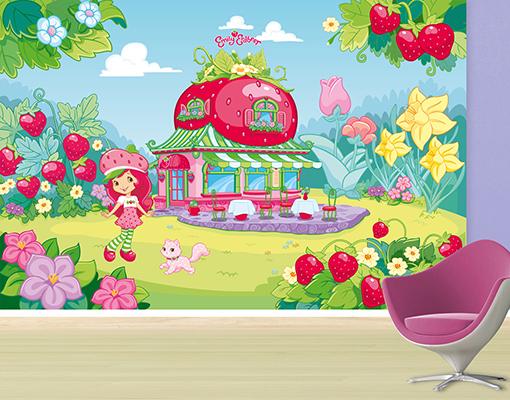 Vlies fototapete emily erdbeer caf logo motivtapete for Kinderzimmer emily