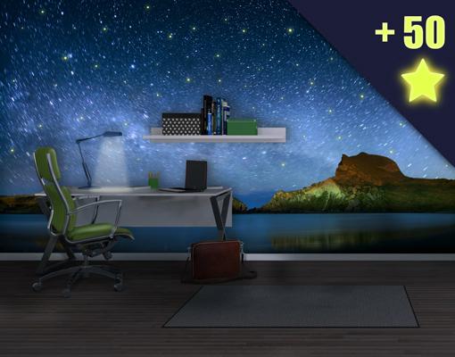 Fototapete sternenhimmel  Vlies FotoTapete Sternenhimmel inklusive 50 Leuchtsterne Foto ...