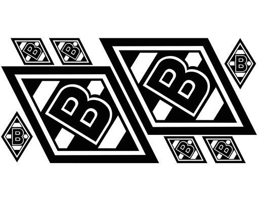 wandtattoo borussia m nchengladbach logos sticker set wand aufkleber fohlen ebay. Black Bedroom Furniture Sets. Home Design Ideas