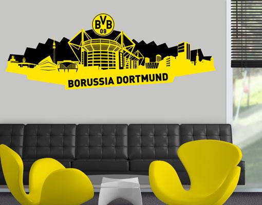 Wandtattoo borussia dortmund skyline dortmund schwarz 90x33 bvb fu ball sticker ebay - Wandtattoo dortmund ...