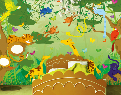 photo wall mural comic jungle 400x280 kids wall decor. Black Bedroom Furniture Sets. Home Design Ideas