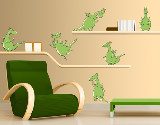 wandtattoo urmel urmel set kinderzimmer dinosaurier drachen dschungel ebay. Black Bedroom Furniture Sets. Home Design Ideas