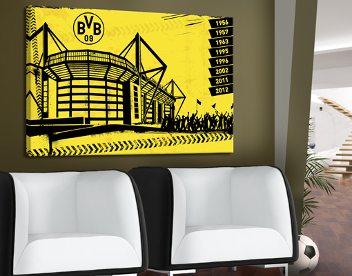 leinwand bild bilder borussia dortmund signal iduna park fussball druck bvb fan ebay. Black Bedroom Furniture Sets. Home Design Ideas
