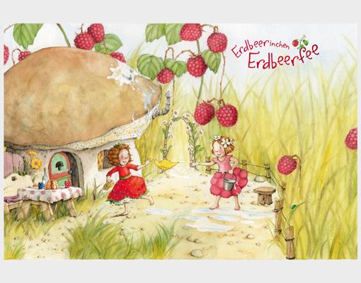 Fensterbild erdbeerinchen erdbeerfee im garten fenster for Fensterdekoration kinderzimmer