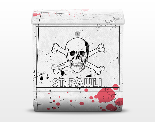design briefkasten fc st pauli totenkopf wei motiv stand. Black Bedroom Furniture Sets. Home Design Ideas