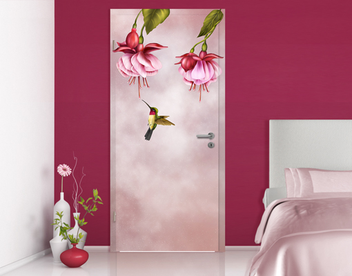 fototapete tuer selbstklebend kolibri foto tapeten vogel blueten blumen voegel ebay. Black Bedroom Furniture Sets. Home Design Ideas