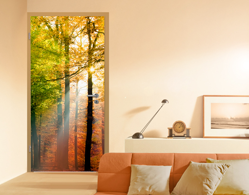 fototapete t r forest lights 100x210 foto tapeten b ume wald sonnenstrahlen ebay. Black Bedroom Furniture Sets. Home Design Ideas
